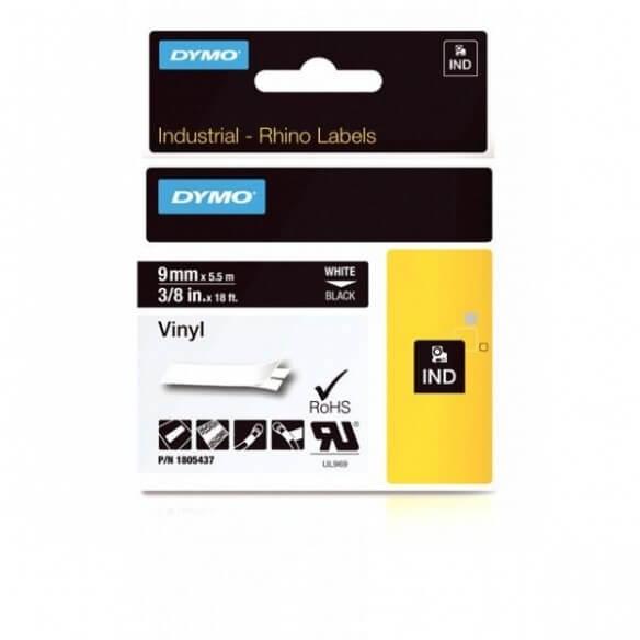 DYMO 1805437 Rhino Bande Vinyle Adhésive Permanente Blanc sur Noire 9mm x 5.5m (photo)