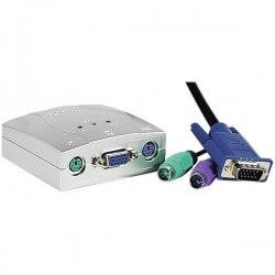Cuc Mini Kvm 2 Ports Vga/ps2 Avec Câbles Intégrés
