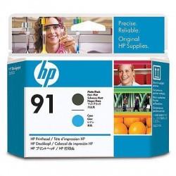 HP Tête d'impression noir mat et cyan HP91