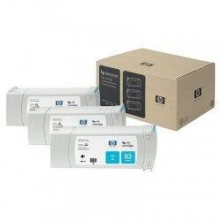 HP Jeu de 3 cartouches d'encre cyan UV n°83 680 ml