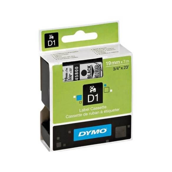 DYMO 45800 Ruban D1 Standard Noir sur Transparent 19mm x 7m