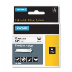 DYMO 18488 Rhino Ruban Nylon Flexible Noir sur Blanc 12mm x 3,5m