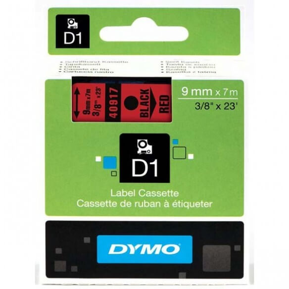 Dymo Ruban 9mm Noir Sur Rouge Pour Lp1 (photo)