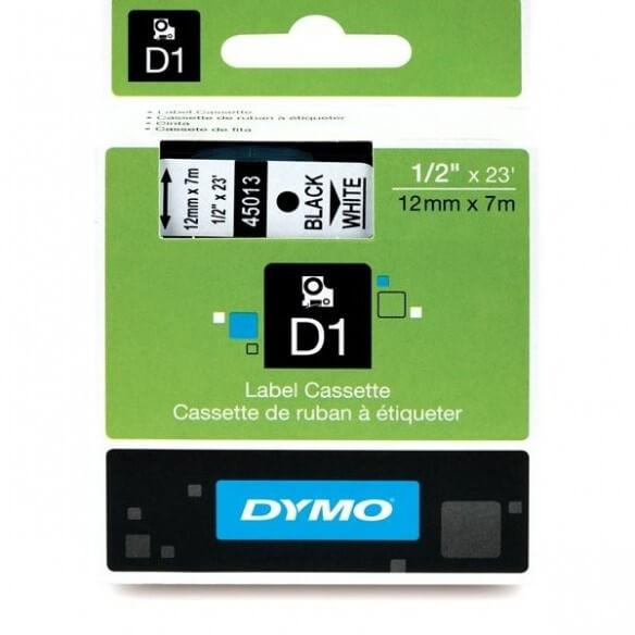 Dymo Ruban D1 - 12 Mm Noir Sur Blanc (photo)