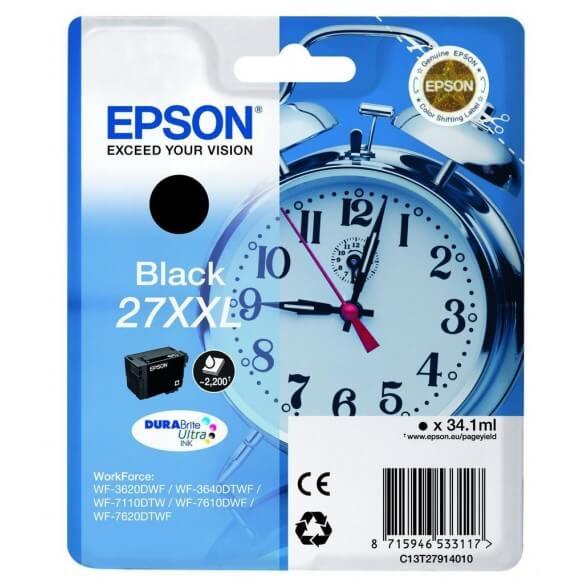 Epson 27XXL BK cartouche d'encre noir d'origine de 2200 pages