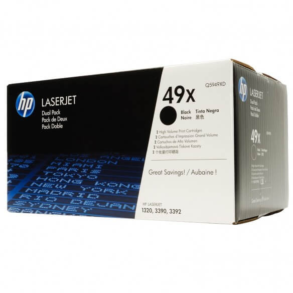 HP Q5949XD Lot de 2 cartouches de toner LaserJet 49X Noir 6000 pages