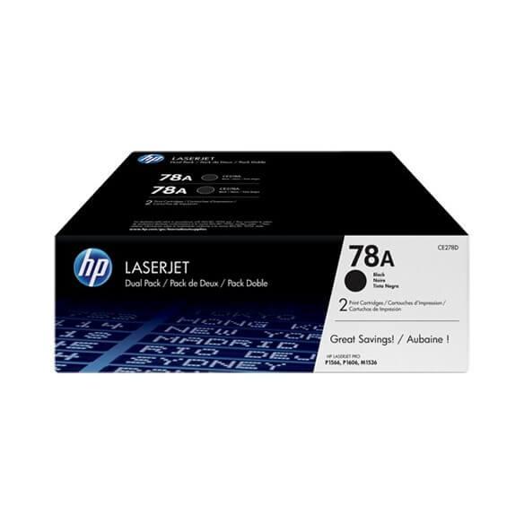 HP CE278AD Lot de 2 Cartouches de toner LaserJet 78A Noir 2100 pages