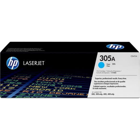 HP CE411A Cartouche de tonerLaserJet305A Cyan 2600 pages