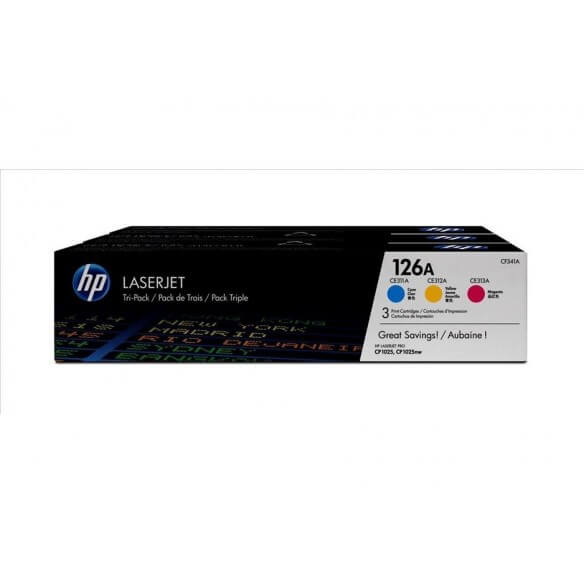 HP CF341A Lot de 3 cartouches de toner LaserJet  38A cyan/magenta/jaune1000 pages
