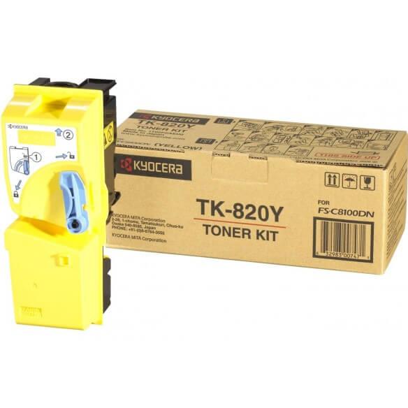 Kyocera TK-820Y Toner Kit Jaune