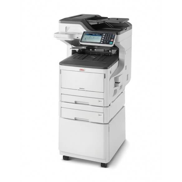 OKI MC853DNCT, imprimante multifonction A3-A4, laser couleur, recto-verso, réseau, avec 2e magasin papier de 500 feuilles et meuble support