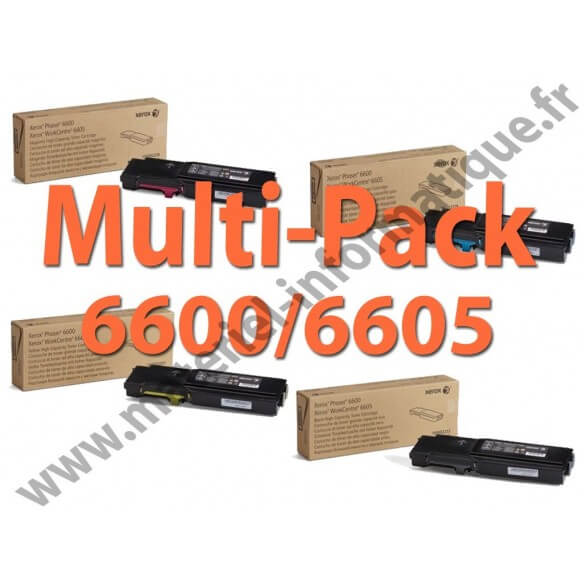 Multipack 4 couleurs haute capacité Xerox pour Workcentre 6605 et Phaser 6600 toner d'origine