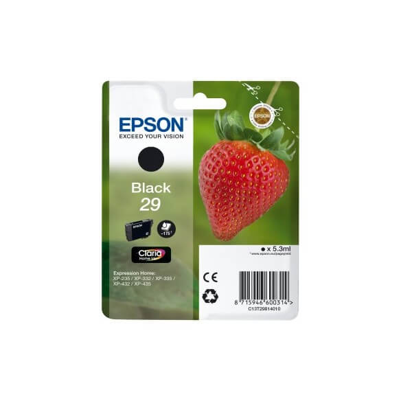 Consommable Epson 29 cartouche d'encre Noir pour Expression Home XP-235, XP-332, XP-335, X