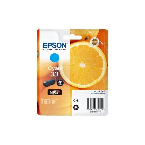 Consommable Epson 33 cartouche d'encre Cyan pour Expression Home XP-530, 630, 635, 830, Ex