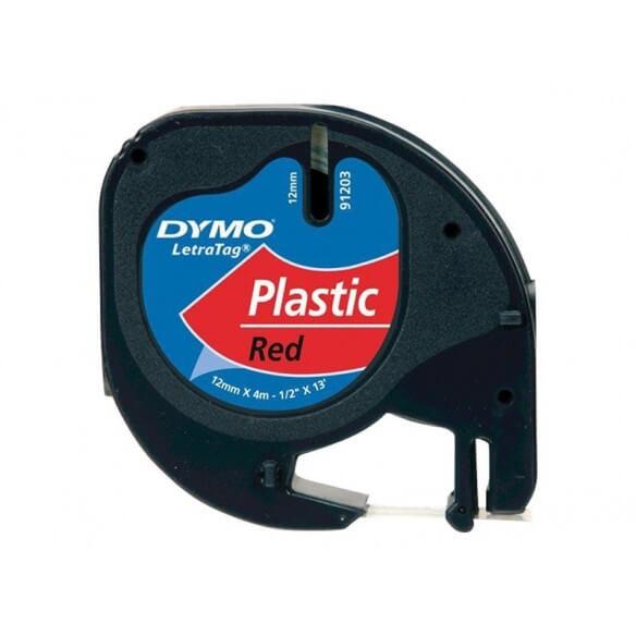 DYMO 12mm x 4m LetraTAG NOIR SUR ROUGE RUBAN POLYESTER (photo)
