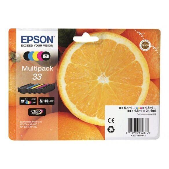 Consommable Epson 33 Multipack  noir, jaune, cyan, magenta, photo noire