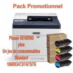 Offre : Xerox 6510V_DNS Imprimante laser couleur R/V + 1 jeu complet de 4 toners (1 noir 2500p et 3 couleurs 1000p)