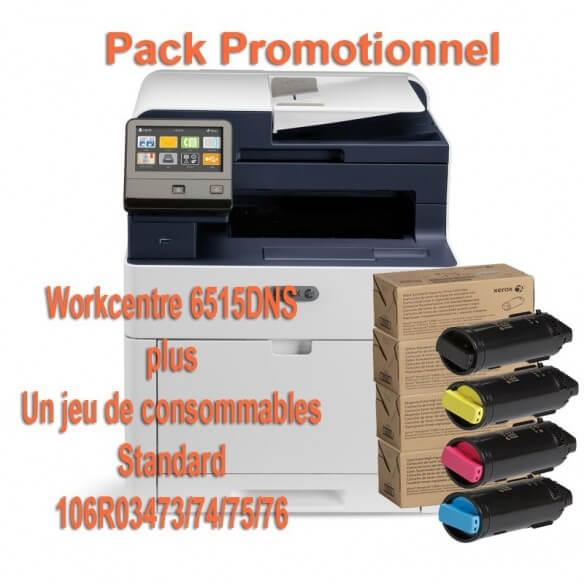 Offre : Xerox 6515V_DNS Multifonction laser couleur + 1 jeu de complet de 4 toners (1 noir 2500p et 3 toners 1000p)