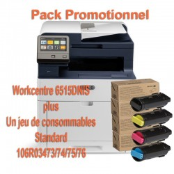 Offre : Xerox 6515V_DNIS Multifonction laser couleur + 1 jeu de complet de 4 toners (1 noir 2500p et 3 toners 1000p)