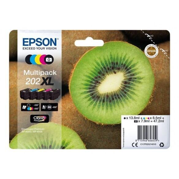 Consommable Epson 202XL Multipack noir, jaune, cyan, magenta, photo noire pour Expression