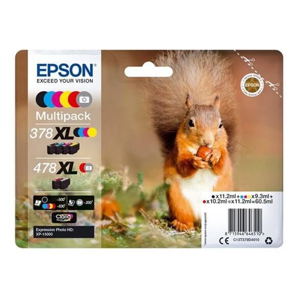 Consommable Epson 478XL Multipack 6 couleurs (gris,noir,jaune,cyan,magenta,rouge) 60.5 ml