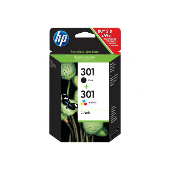 Consommable HP 301 - pack de 2 - noir, tricolore à base de colorant - originale - cartouc
