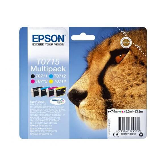 Consommable Epson T0715 Multipack - pack de 4 - noir, jaune, cyan, magenta - originale - c