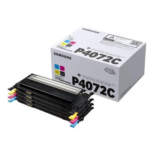 Cartouches d'encre Samsung CLT-P4072C - pack de 4 - noir, jaune, cyan, magenta - (photo)
