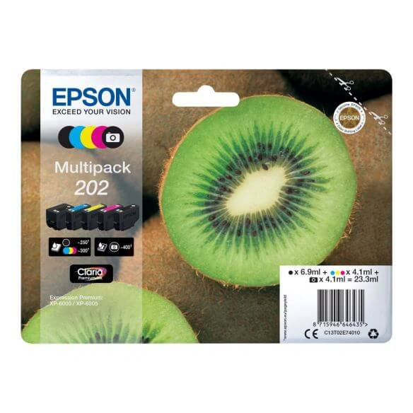 Consommable Epson 202 Multipack - pack de 5 - noir, jaune, cyan, magenta, photo noire - or