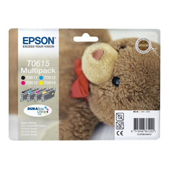 Consommable Epson Multipack T0615 - pack de 4 - noir, jaune, cyan, magenta - originale - c
