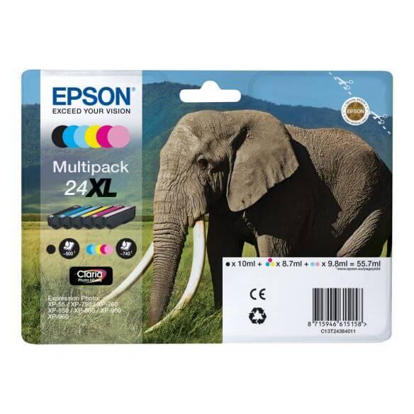 Consommable Epson 24XL Multipack - pack de 6 - XL - noir, jaune, cyan, magenta, magenta cl