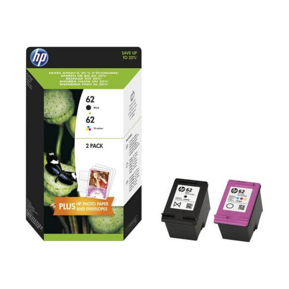 Consommable HP 62 Twin Pack - pack de 2 - noir, tricolore à base de colorant - originale