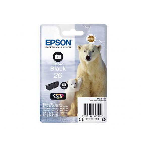 Consommable Epson 26 - photo noire - originale - cartouche d'encre