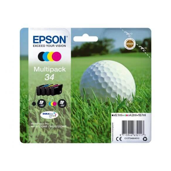 Consommable Epson 34 - pack de 4 - noir, jaune, cyan, magenta - originale - cartouche d'en