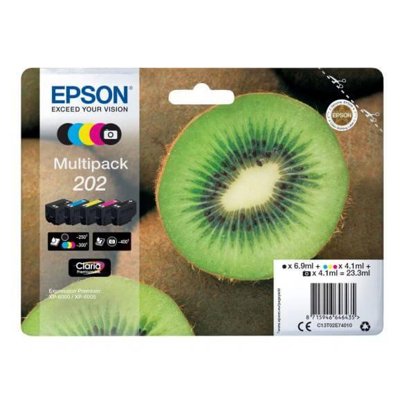 Consommable Epson Multipack 202 - pack de 5 - noir, jaune, cyan, magenta, photo noire - or