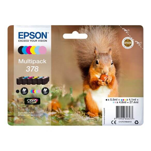 Consommable Epson 378 Multipack - pack de 6 - noir, jaune, cyan, magenta, magenta clair, c
