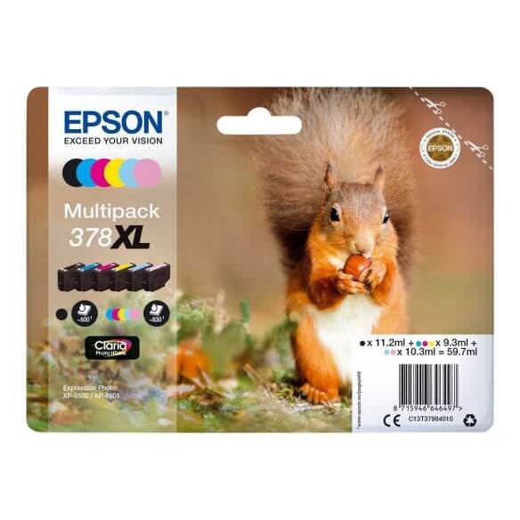 Consommable Epson 378XL Multipack - pack de 6 - XL - noir, jaune, cyan, magenta, magenta c