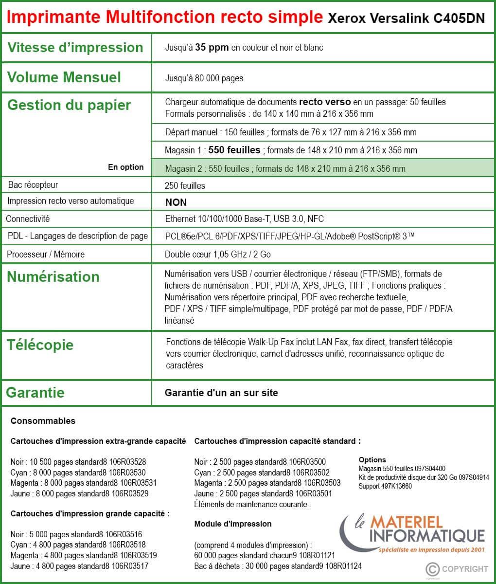 Tableau Xerox C405N imprimante multifonction recto